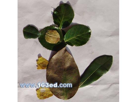 动物树叶贴画图片 树叶艺术贴画图片大全 树叶贴画作品图片大全