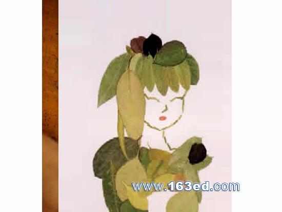 树叶粘贴画人物篇:美女图—树叶贴画
