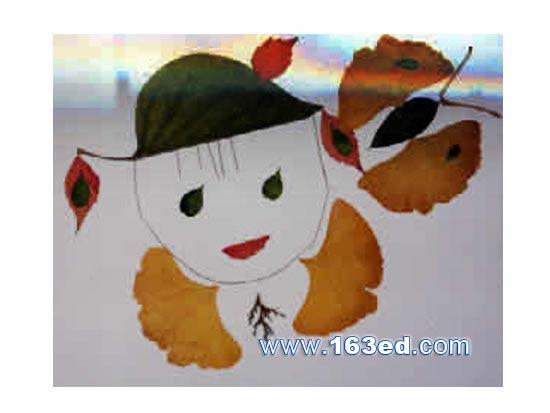 树叶粘贴画人物发型图片展示图片