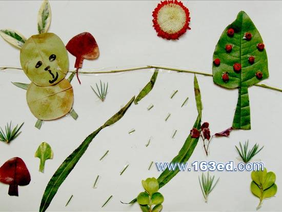 树叶粘贴画动物篇:兔子-树叶贴画-树叶粘贴画动物图片 树叶粘贴画