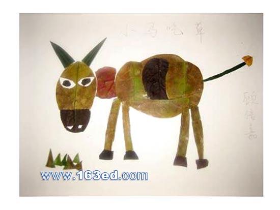 关键词:幼儿树叶; 手工教案 树叶贴画    正文; 树叶粘贴画动物篇