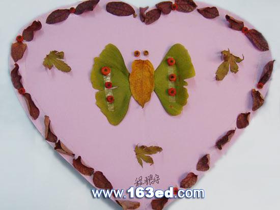 树叶粘贴画昆虫篇 蝴蝶16 树叶贴画 -树叶粘贴画昆虫篇 蝴蝶16