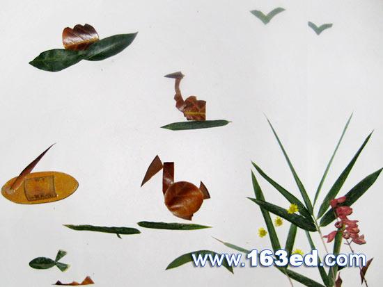树叶粘贴画风景篇:春江水暖2—树叶贴画