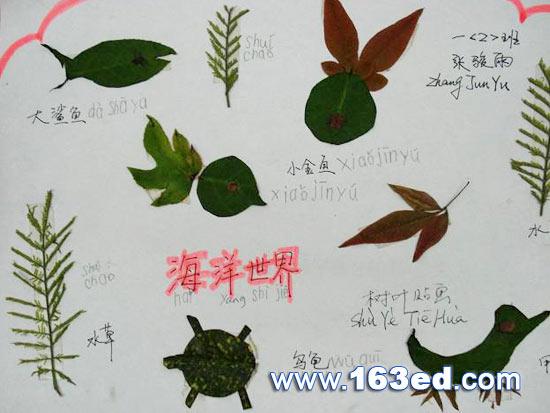 树叶粘贴画风景篇:海洋世界9—树叶贴画