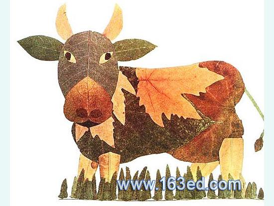 树叶粘贴画:黄牛8