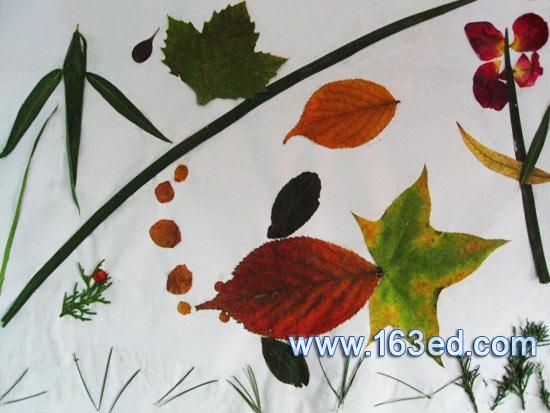 树叶粘贴画:鱼塘风景1—树叶贴画