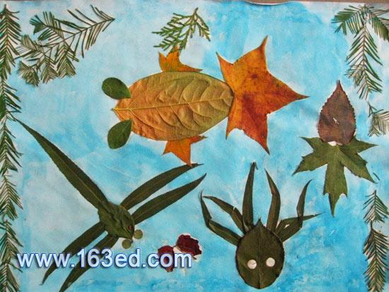 树叶粘贴画:鱼塘风景2—树叶贴画