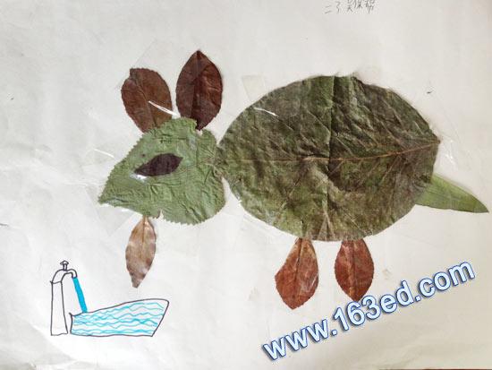 幼儿手工树叶贴画:小羊喝水—树叶贴画