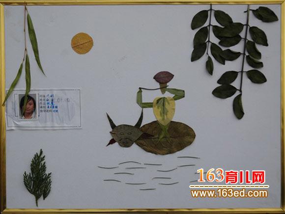 纸杯人物图片_吹笛的牧童(树叶粘贴画)—树叶贴画