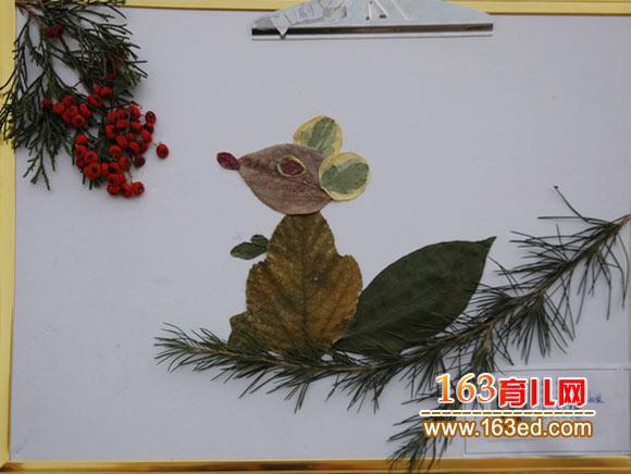 小学生简笔画教案_松鼠的晚餐(小学生树叶粘贴画)—树叶贴画