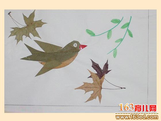 春天的燕子(树叶粘贴画); 春天的鸟儿│树叶贴画图片图片