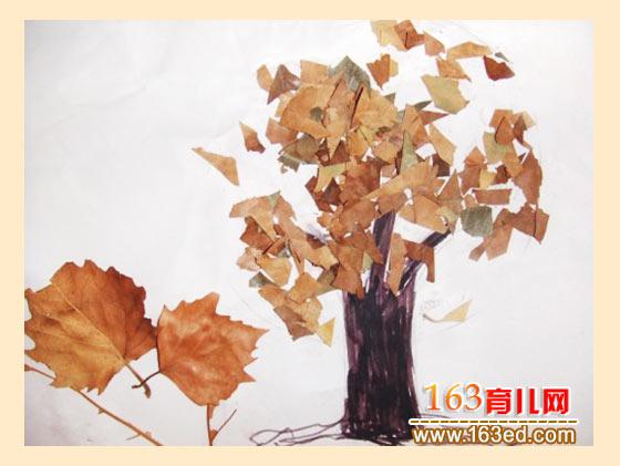 秋天的大树(树叶粘贴画)—树叶贴画