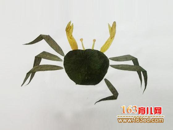 一只厉害的螃蟹 树叶粘贴画