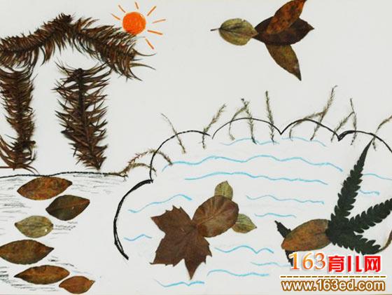 秋天的大树(树叶粘贴画) 树叶贴画