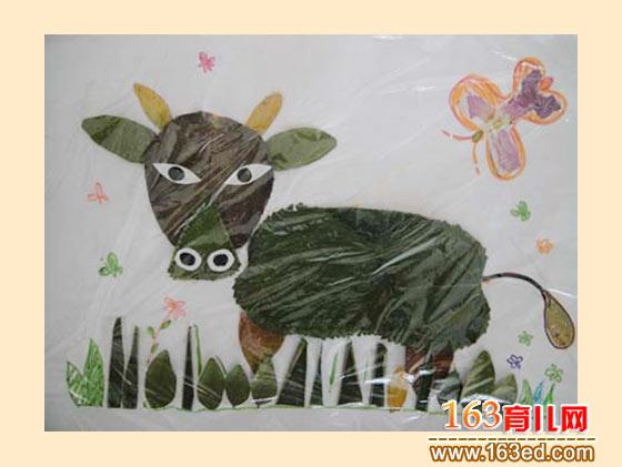 威武的牛 树叶粘贴画