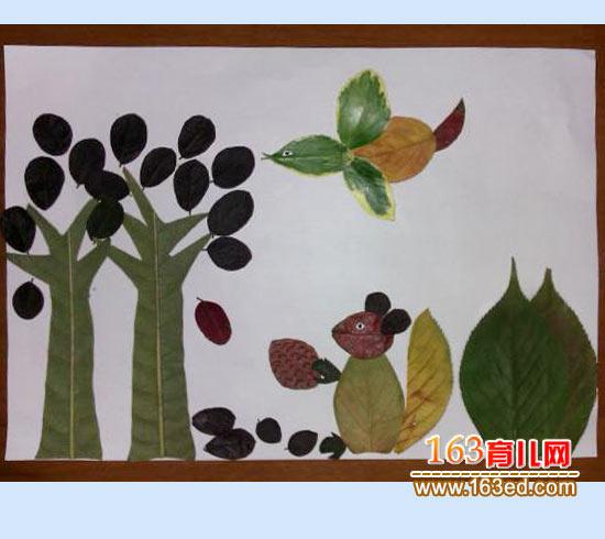 树叶 粘贴/大尾巴松鼠(树叶粘贴画图片)