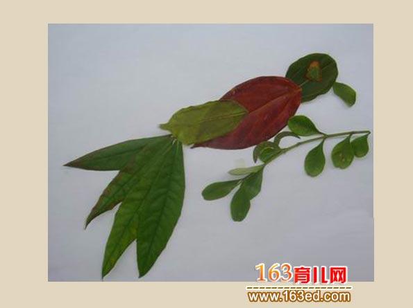 树叶贴画狗狗_狗手工制作图片