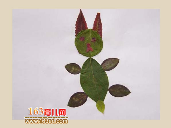 儿童树叶粘贴画作品:一只小动物1