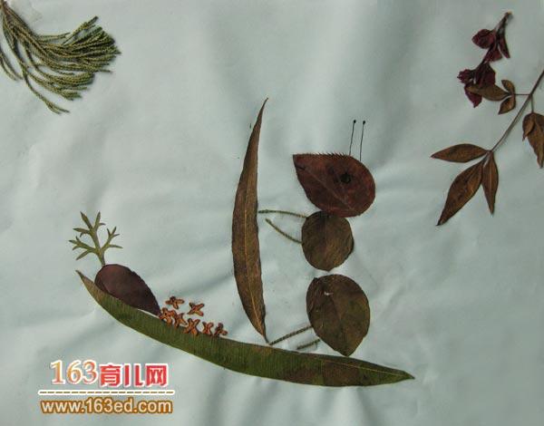 儿童树叶粘贴画作品图片:蚂蚁当渔夫