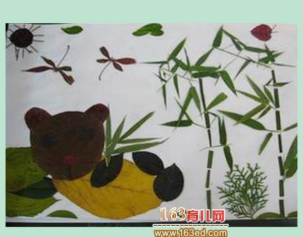 育儿网 树叶贴画 动物 >> 正文  [图文]儿童树叶粘贴画作品:竹林里的