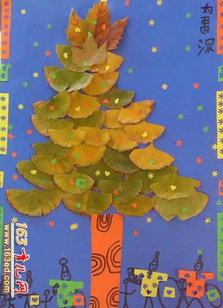 一棵大树_幼儿树叶粘贴画作品—树叶贴画