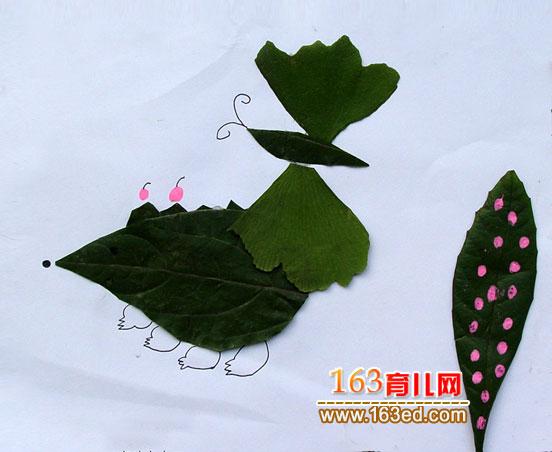 树叶粘贴画作品:一只小蝴蝶—树叶贴画